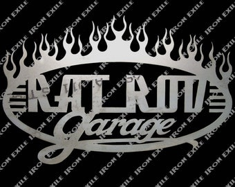 Rat Rod Garage Sign with Flames 24""
