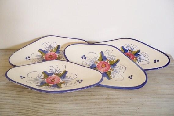 Bread Plates Vintage Hand Painted Oval Flower Plates Mid Century Modern Art Potceramic