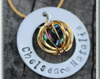 Gold Plated Cage Personalised Hand Stamped Necklace