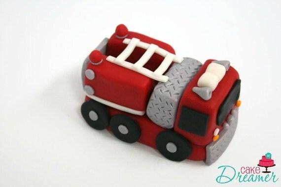Fondant Fire Engine Cake Topper