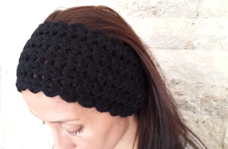 Knit Headband Pattern Button Closure : Black headband button closure knitted headband ear by AGORAA