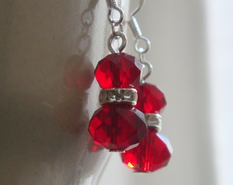 Red earrings, red crystal earrings, dangle earrings, UK Seller