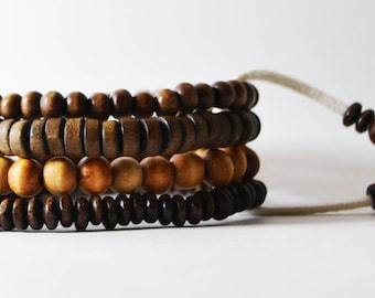African Men's Jewelry Handmade Bracelet wooden beaded tribal. Handmade in Australia. OKSINC Street wear, Natural Brown boho jewelry. Sand.