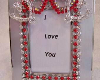 Silver Tone Photo Frame with Fire Red, Clear and Aurora Borealis Rhinestone Heart Jewelry.