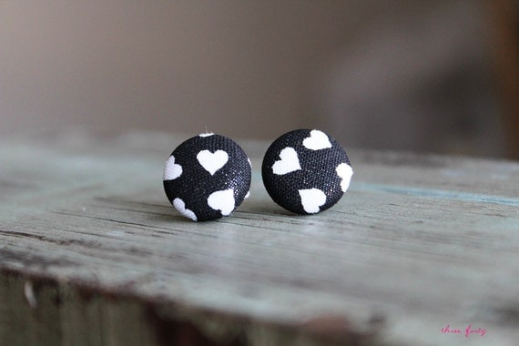 Black and White Heart Earrings / Heart Studs / Heart Fabric Button Earrings / Modern Jewelry