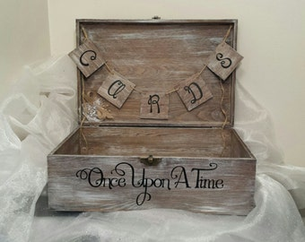 Shabby Chic Once Upon A Time Wedding Card Box, Wedding Card Box, Shabby Chic Wedding Card Box, Once Upon A Time Card Box, Wedding Card Box