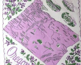 Vintage Handkerchief Oregon Souvenir Purple