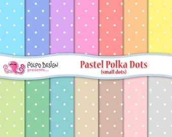 Pastel polka dots digital paper Pack.  Commercial & personal Use. Instant Download. Polkadot polkadots micro little tiny small dot pattern
