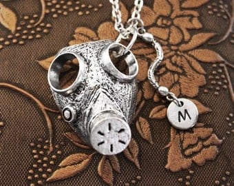 Gas Mask Necklace, Initial Necklace Personalized Necklace, Engraved Necklace, Custom Necklace, Apocalypse Necklace, Monogram Necklace, Charm
