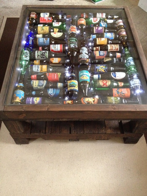 items similar to beer bottle coffee table with led lights on etsy. Black Bedroom Furniture Sets. Home Design Ideas