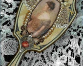 Divine Deco ~ Antique hand mirror with beautiful embellishment