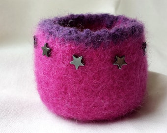 Hot Pink Felted Bowl with Star Beads