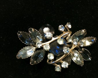 Vintage 1930's to 40's Rhinestone Brooch and Earrings Saphire Blue and Light Blue Rhinestones in Silver Tone Setting