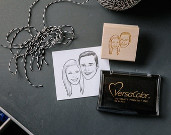 Custom Portrait Rubber Stamp - For Couples, Hand Drawn, Personalized