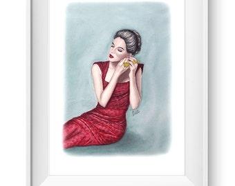 Fashion illustration print, Fashion art, watercolor - The Golden Ring