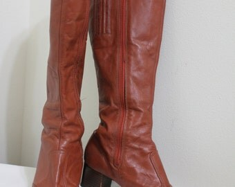 Vintage Brown Knee High Zip Up Cobbies Boots - 7