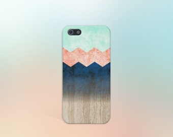 Coral x Mint x Blue x Wood Chevrons Design Case for iPhone 6 6 Plus iPhone 7  Samsung Galaxy s8 edge s6 and Note 5  S8 Plus Phone Case
