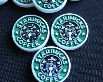 Starbucks Cabochon Flat Back Resins Set of 2 for Hairbows, Scrapbooking, Etc.