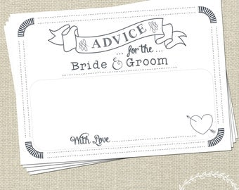 Wedding Advice Cards for the Bride and Groom / Wedding Messages / Keepsake Words of Wisdom by Mint Imprint / Wedding Decor / Advice Cards