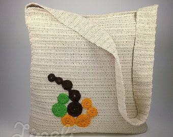 BIG SALE, Handmade Crochet Shoulder Bag, Vintage Crochet bag, Bohemian bag, Shoulder Bag, Women's Bag, Cross Body Bag, Beige Messenger Bag