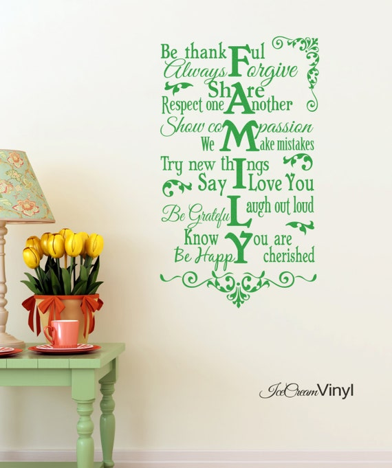 Family Wall Decal Rules Vinyl  Wall Quote Be Thankful Say I Love You for Home Bedroom Family Room