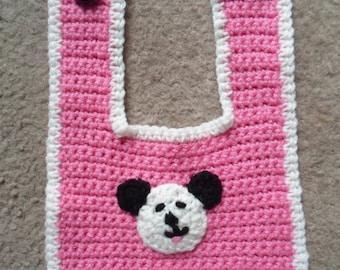 Pink & White Panda Bib