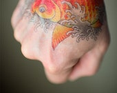 Asian Koi Fish Temporary Tattoo, Classic Style, Vintage Tattoo by Dean Sacred