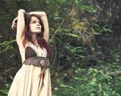 Boho Dress 01 - dress leather, lace, feathers & Tiger's eye