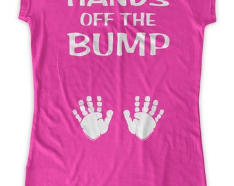 Hands Off The Bump Maternity T-Shirt Clothes Top - front print - Made From Bamboo - SUPER SOFT & Stretchy