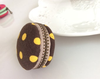 Macaroon keychain / Macaron keychain/ Macaron coin purse / Macaroon coin purse  (brown with yellow polka dots)