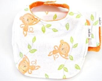 Monkey Bib and Burp Cloth, vibrant orange, terry cloth, snuggle flannel