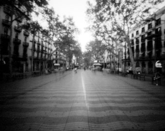 La Rambla, 6x6cm analògic craft pinhole black and white photo.