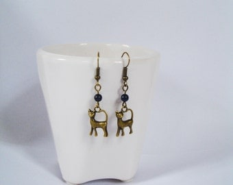 Long Drop Antique Bronze Cat Earrings with lapis Lazuli on Antique Bronze findings, Long Dangle Earrings for all Cat Lovers