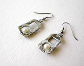 Up-Cycled Earrings from Soda Pop Tabs, Wire Wrapped with Pearl Beads