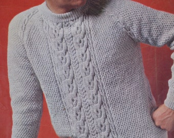 88113ab84caa Men s cable sweater vintage knitting pattern pdf INSTANT download men s  cable sweater jumper pattern only 1960s