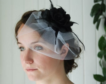Bridal Flower Facinator with Birdcage Veil - Striking Black Flower with Feather Accents and White Tulle Birdcage Hair Clip Vintage Style