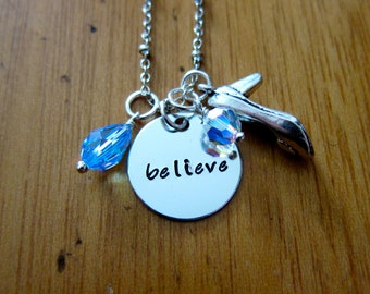 Cinderella Inspired Necklace. Believe. Silver colored,  Swarovski Elements crystal, for women or girls