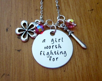 Mulan Inspired Necklace. A Girl Worth Fighting For. Silver colored,  Swarovski Elements crystals, for women or girls. Hand stamped.