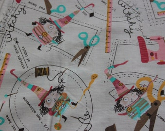 Robert Kaufman 100% cotton quilting fabric, 'Stitchy Witchy'