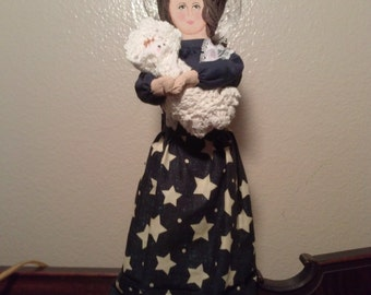 Country Folk Art Wooden Spoon Doll...Handmade, Hand Sewn, And Hand Painted