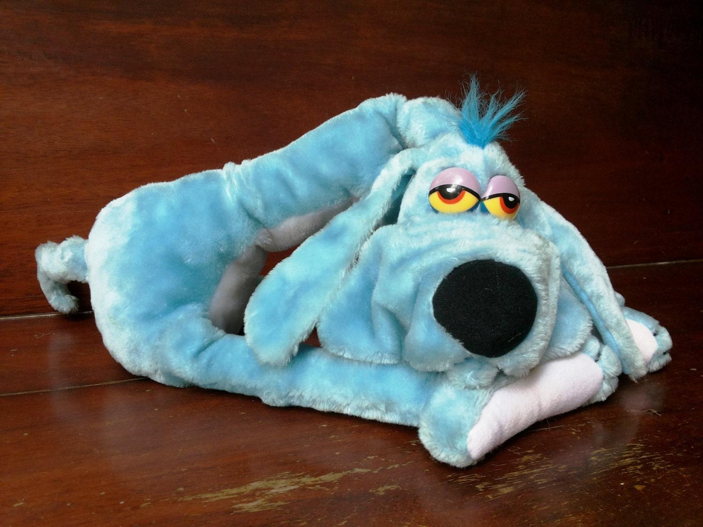 vintage foofur dog stuffed animal blue dog plush by eastwardfinds. Black Bedroom Furniture Sets. Home Design Ideas