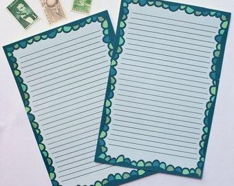 "Writing Sheets (10)  - ""Green Scallop"""