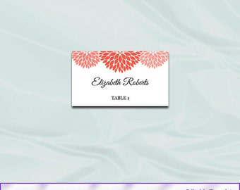 Coral Wedding Place Card Template - Diy Printable Name Place Card Tent Template - Editable Text - Instant Download Pdf Word P37