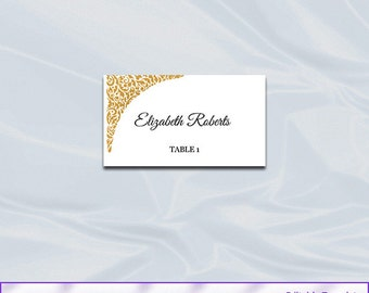 Gold Wedding Place Cards Template, Diy Printable Tent Seating Name Cards, Editable Text, Instant Download Pdf Word P17