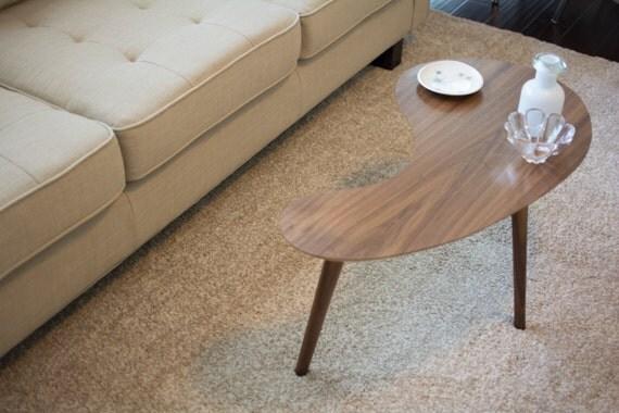 Mid Century Modern Coffee Table Walnut Kidney Bean Small