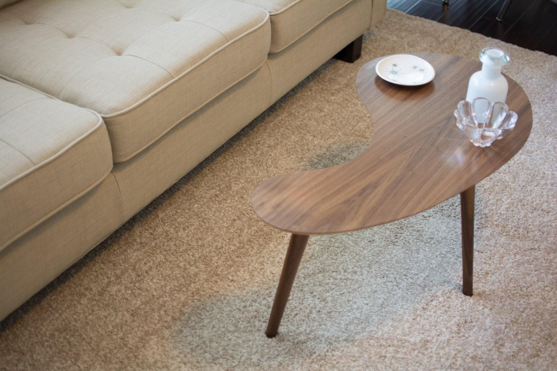 Mid century modern coffee table walnut kidney bean small for Small mid century modern coffee table