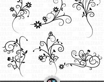 "Flower Flourish Swirl Clipart ""FLOWER FLOURISH SWIRL"" clip art pack, flourish swirl,flower swirl,wedding invitation Instant Download Fsc005"