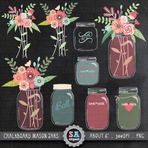 "Flower Wall Decor Reversible Mosaic With Chalkboard: Chalkboard Mason Jar Clipart ""WEDDING MASON JAR"" Clip Art"