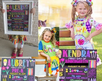 First Day of School sign, 1st day of school board, first day of school prop, 1st day of preschool, kindergarten chalkboard style BRSCH04