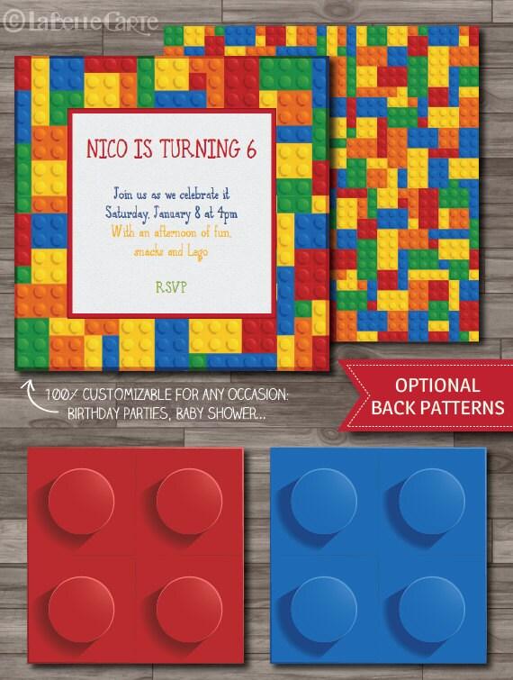 Lego Party Invitations Lego Invitation Lego By Labellestudio